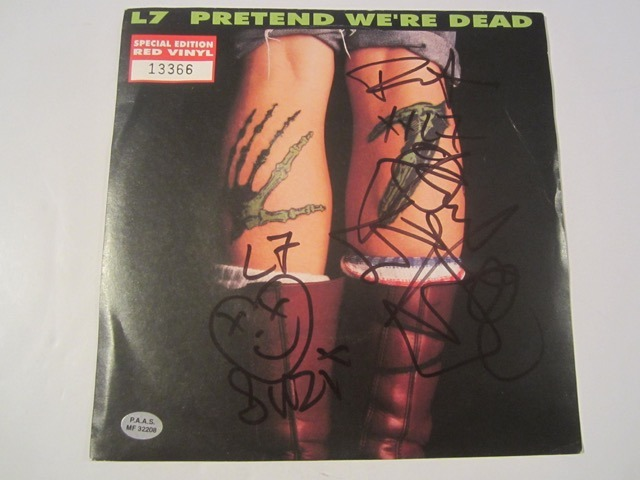 L7 Pretend Were Dead Hand Signed Autographed Record Cover COA