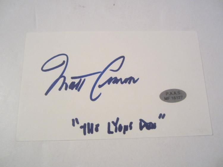 Matt Craven Hand Signed Autographed 3x5 Index Card COA