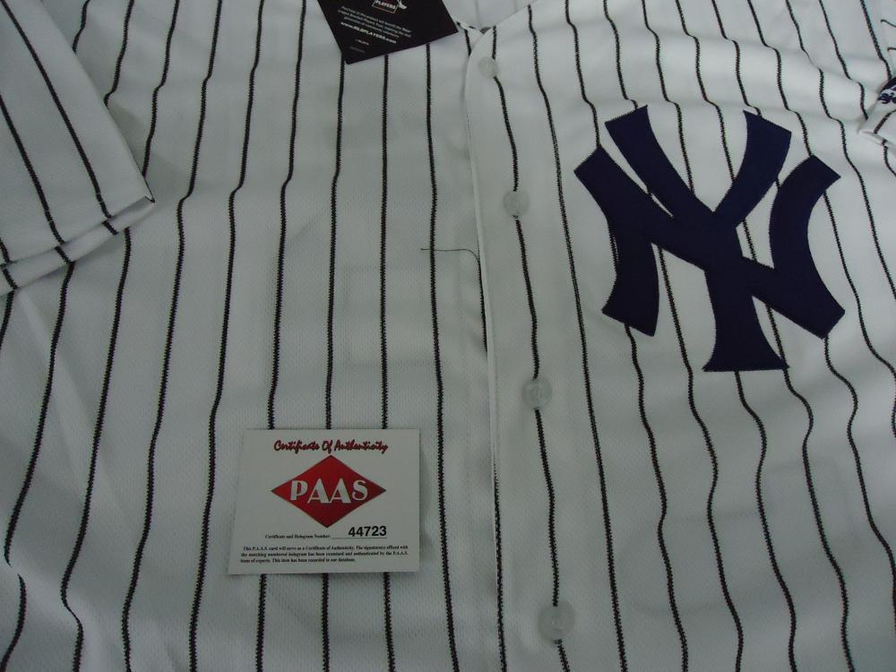 huge discount c95b6 c018f Aaron Judge NY Yankees signed MLB logo white pinstripe ...