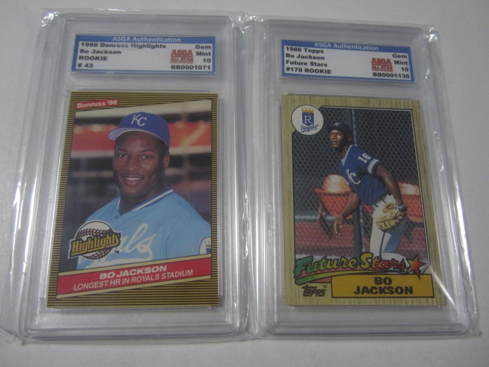 2 X Bo Jackson Kansas City Royals Rookie Baseball Trading Card Gem