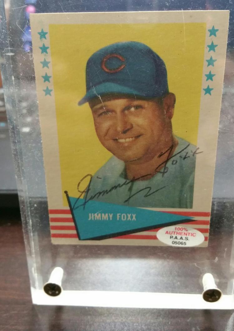Jimmie Foxx Autographed 1961 Fleer 28 Nm Baseball Card