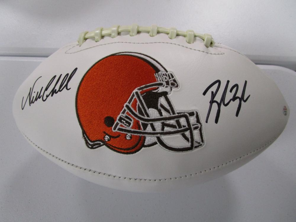 new product 6d32c 7a2c8 Nick Chubb Baker Mayfield Browns signed autographed full ...