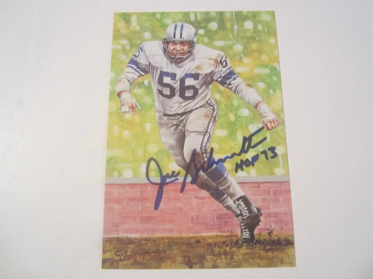 Joe Schmidt Detroit Lions HOF Signed Autographed Goal Line Art Card GA COA