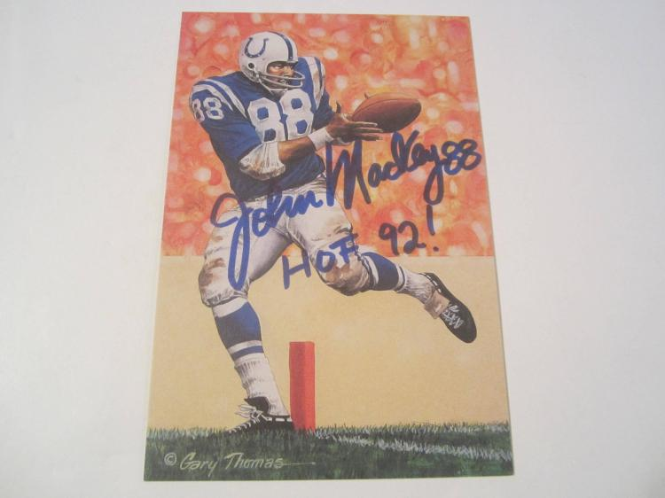 John Mackey Baltimore Colts HOF Signed Autographed Goal Line Art Card PAAS COA