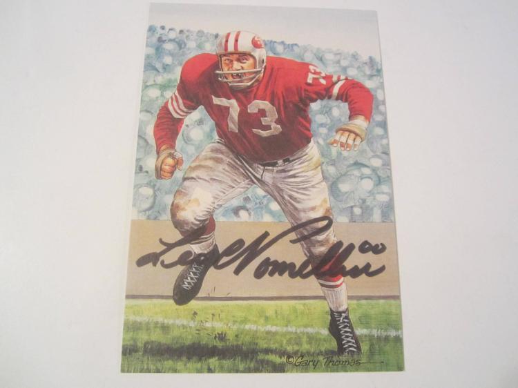 Leo Nomellini San Francisco 49ers HOF Signed Autographed Goal Line Art Card PAAS COA