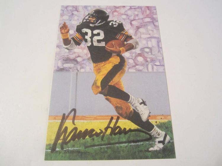 Franco Harris Pittsburgh Steelers HOF Signed Autographed Goal Line Art Card PAAS COA