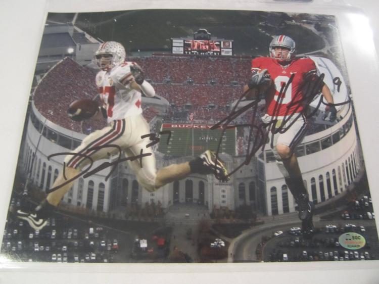 Brian Hartline/ Dustin Fox Ohio State Buckeyes Hand Signed autographed 8x10 SGC COA