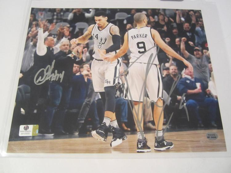 Tony Parker, Danny Green Hand Signed autographed 8x10 color photo GAI W COA
