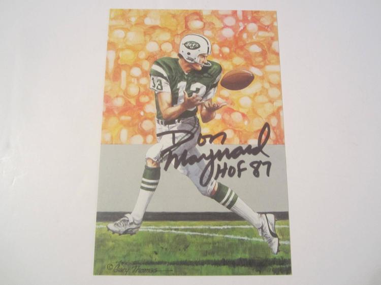 Don Maynard New York Jets HOF Signed Autographed Goal Line Art Card GA COA