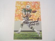 Don Maynard New York Jets HOF Signed Autographed Goal Line Art Card GA COA