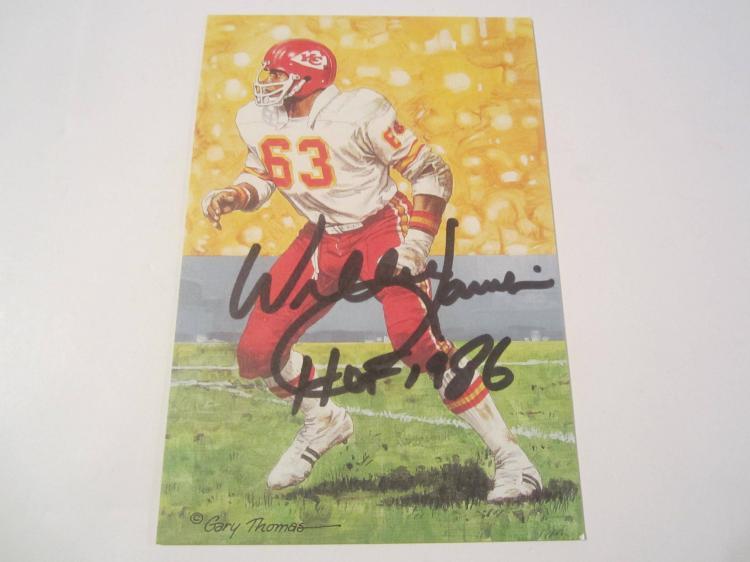 Willie Lanier Kansas City Chiefs HOF Signed Autographed Goal Line Art Card COA