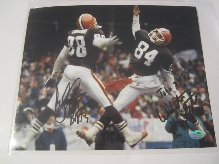 Webster Slaughter and Reggie Langhorne Cleveland Browns Hand Signed autographed 8x10 SGC COA