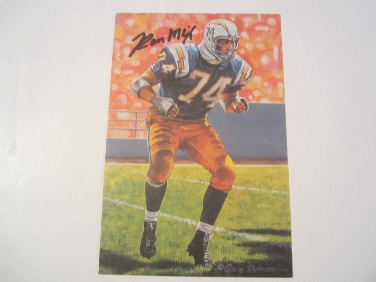 Ron Mix San Diego Chargers HOF Signed Autographed Goal Line Art Card GA COA