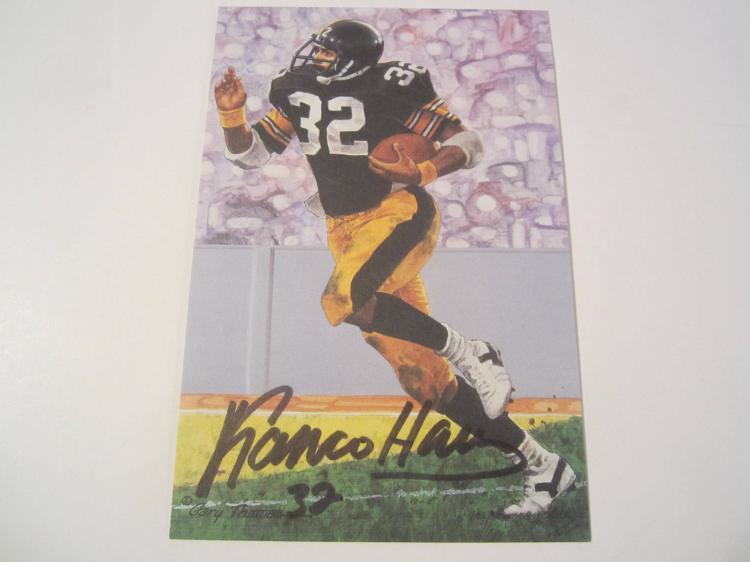 Franco Harris Pittsburgh Steelers HOF Signed Autographed Goal Line Art Card PAAS COA