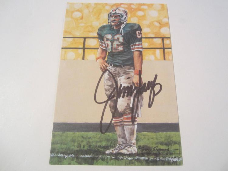 Jim Langer Miami Dolphins HOF Signed Autographed Goal Line Art Card COA