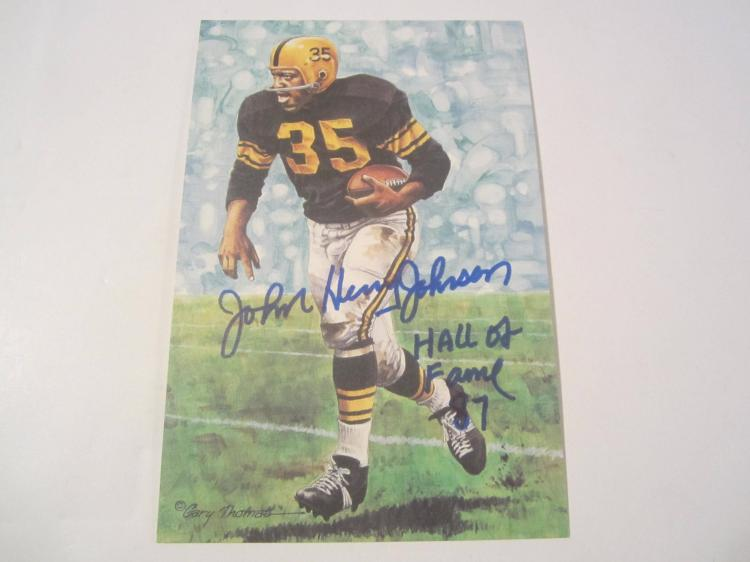 John Henry Johnson Pittsburgh Steelers HOF Signed Autographed Goal Line Art Card PAAS COA