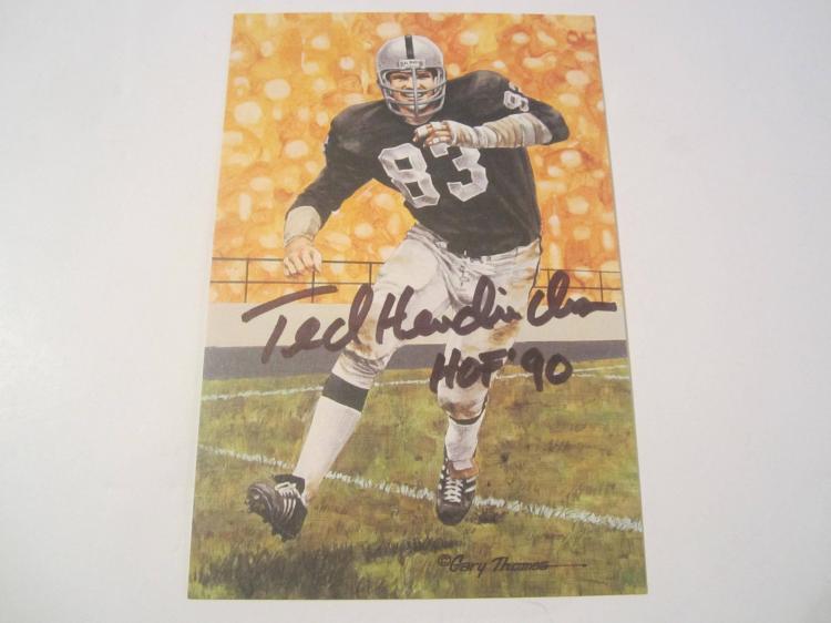 Ted Hendricks Oakland Raiders HOF Signed Autographed Goal Line Art Card PAAS COA