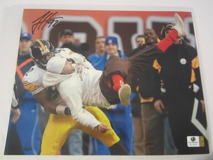 James Harrison Pittsburgh Steelers Hand Signed autographed 8x10 color photo W GX COA