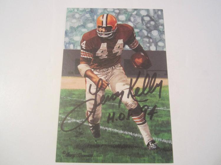 Leroy Kelly Cleveland Browns HOF Signed Autographed Goal Line Art Card GA COA