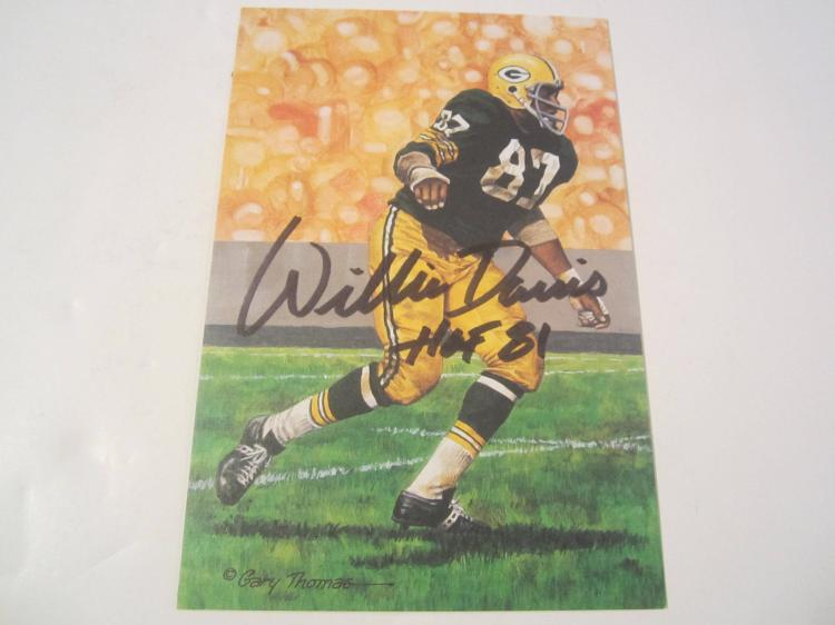 Willie Davis Green Bay Packers HOF Signed Autographed Goal Line Art Card PAAS COA