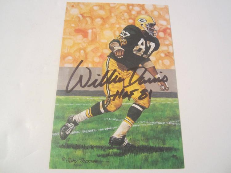 Willie Davis Green Bay Packers HOF Signed Autographed Goal Line Art Card PAAS COA