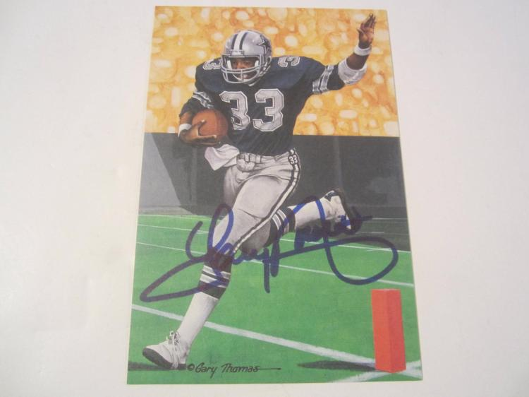 Tony Dorsett Dallas Cowboys HOF Signed Autographed Goal Line Art Card PAAS COA