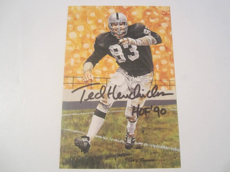Ted Hendricks Oakland Raiders HOF Signed Autographed Goal Line Art Card GA COA