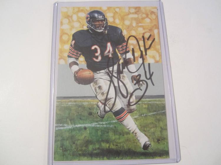 Walter Payton Chicago Bears HOF Signed Autographed Goal Line Art Card COA