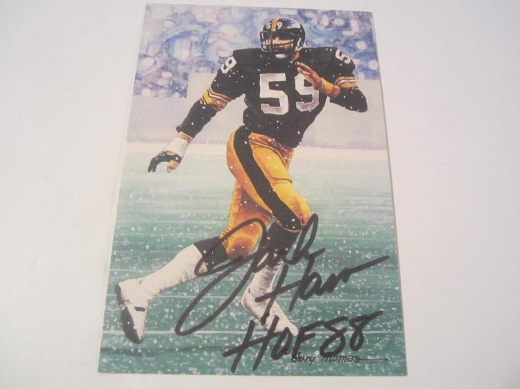 Jack Ham Pittsburgh Steelers HOF Signed Autographed Goal Line Art Card PAAS COA