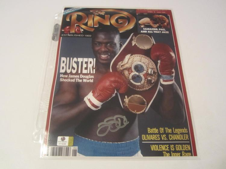 Buster Douglas Hand Signed autographed magazine cover GAI W COA