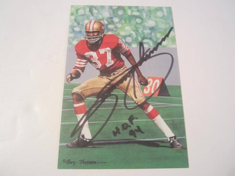 Jimmy Johnson San Francisco 49ers HOF Signed Autographed Goal Line Art Card PAAS COA