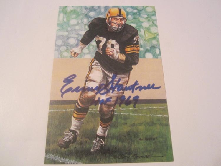 Ernie Stautner Pittsburgh Steelers HOF Signed Autographed Goal Line Art Card PAAS COA