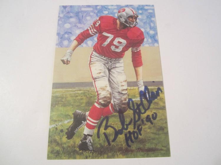 Bob St Clair San Francisco 49ers HOF Signed Autographed Goal Line Art Card PAAS COA