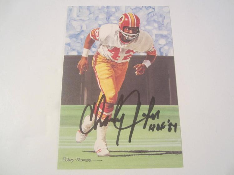 Charley Taylor Washington Redskins HOF Signed Autographed Goal Line Art Card COA