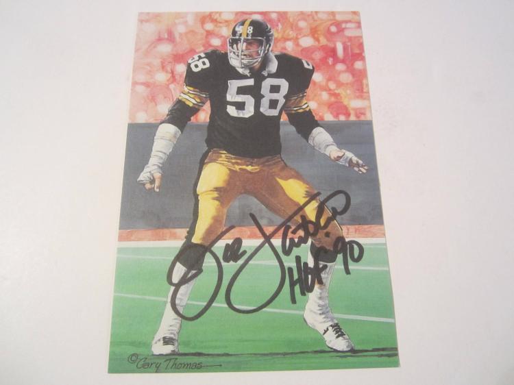 Jack Lambert Pittsburgh Steelers HOF Signed Autographed Goal Line Art Card PAAS COA