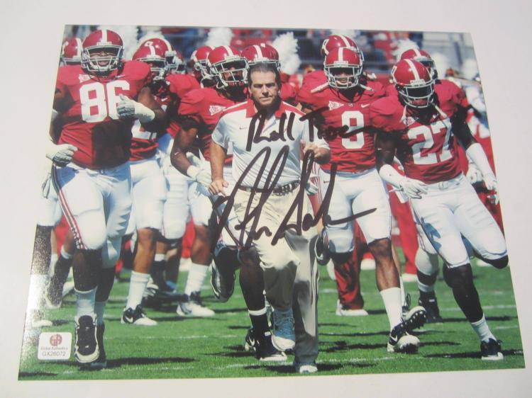 Nick Saban Alabama Crimson Tide Hand Signed autographed 8x10 color photo GAI GX COA