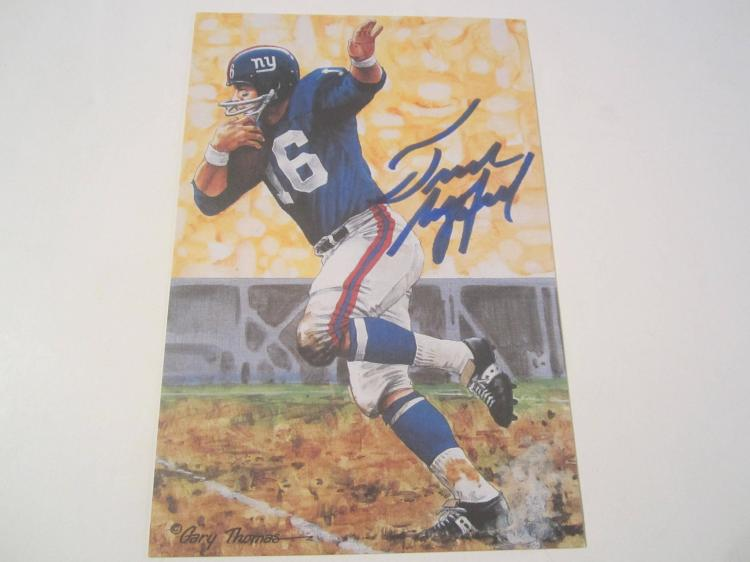 Frank Gifford New York Giants HOF Signed Autographed Goal Line Art Card PAAS COA