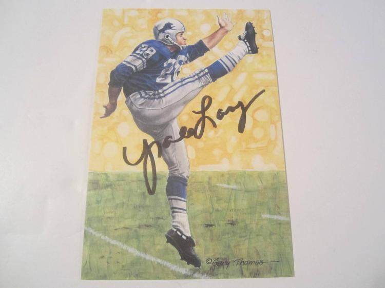 Yale Lary Detroit Lions  HOF Signed Autographed Goal Line Art Card COA