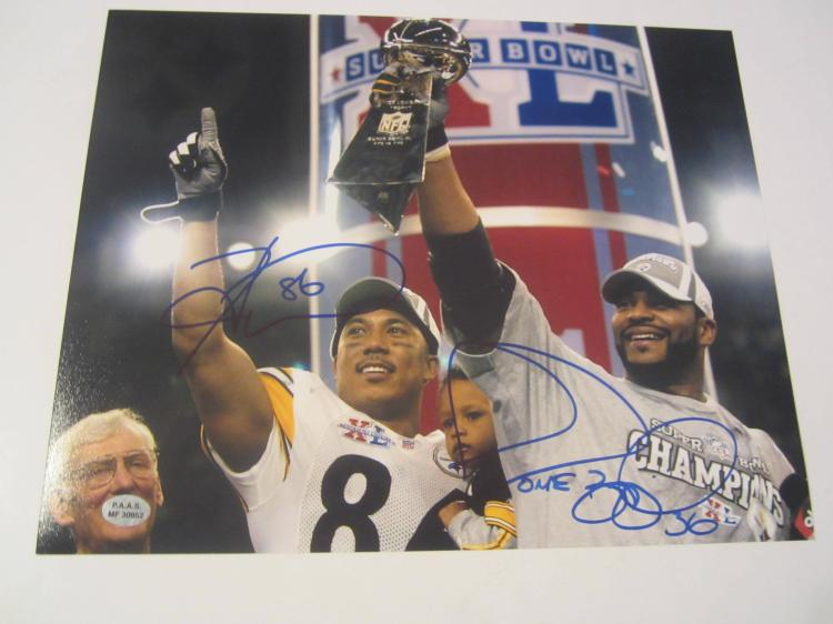 Jerome Bettis and Hines Ward Pittsburgh Steelers Hand Signed autographed 8x10 PAAS COA