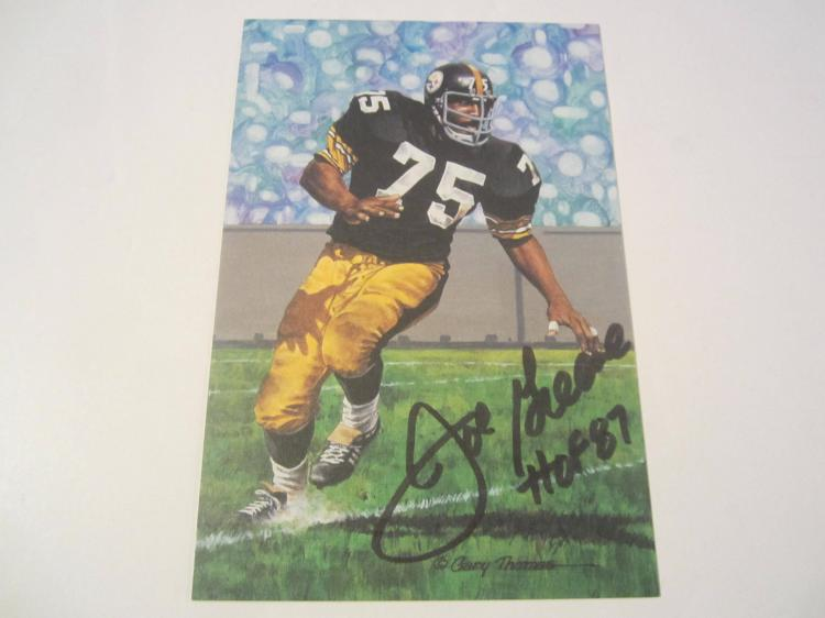 Mean Joe Greene Pittsburgh Steelers HOF Signed Autographed Goal Line Art Card PAAS COA