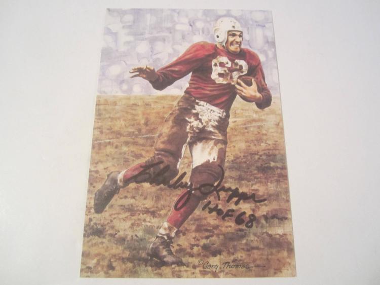 Charley Trippi St Louis Cardinals HOF Signed Autographed Goal Line Art Card COA