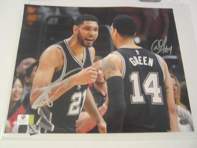 Tim Duncan and Danny Green San Antonio Spurs Hand Signed autographed 8x10 PAAS COA