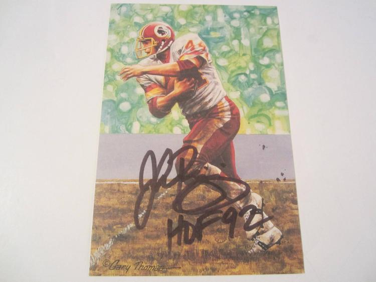 John Riggins Washington Redskins HOF Signed Autographed Goal Line Art Card PAAS COA