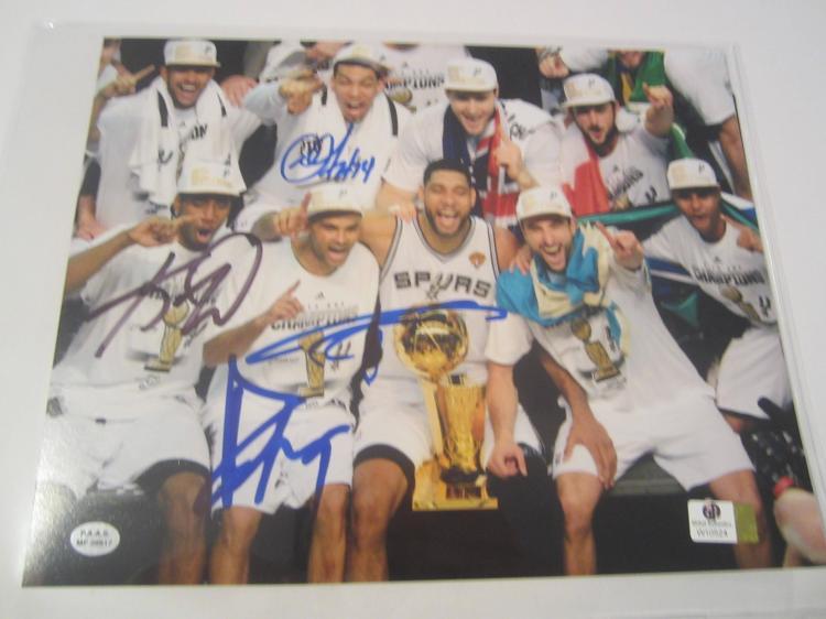 Leonard Duncan and Parker San Antonio Spurs Hand Signed autographed 8x10 PAAS COA