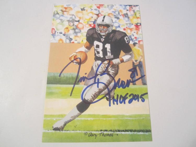 Tim Brown Oakland Raiders HOF Signed Autographed Goal Line Art Card PAAS COA