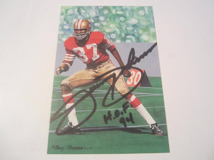 Jimmy Johnson San Francisco 49ers HOF Signed Autographed Goal Line Art Card COA