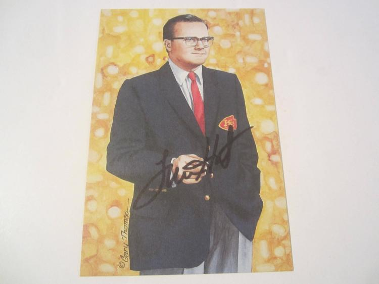 Lamar Hunt Kansas City Chiefs HOF Signed Autographed Goal Line Art Card PAAS COA