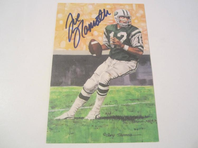 Joe Namath New York Jets HOF Signed Autographed Goal Line Art Card PAAS COA