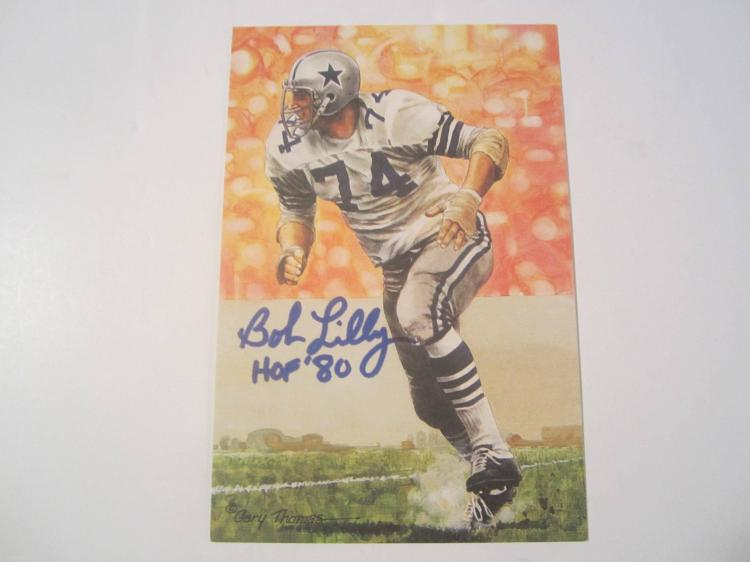 Bob Lilly Dallas Cowboys HOF Signed Autographed Goal Line Art Card GA COA