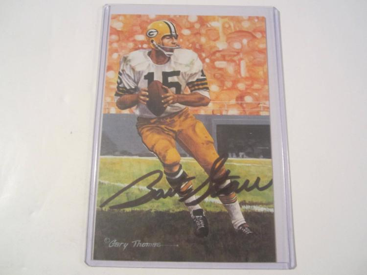 Bart Starr Green Bay Packers HOF Signed Autographed Goal Line Art Card  GA COA